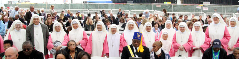 The Pink sister left the monastary with special permission to attend mass celebrated by the Holy Father. Photo by Sarah Webb