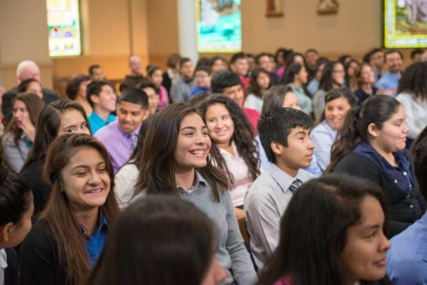 Students at Cristo Rey Jesuit High School in Chicago participate in a virtual town hall meeting with Pope Francis. (CNS photo/courtesy of ABC News)