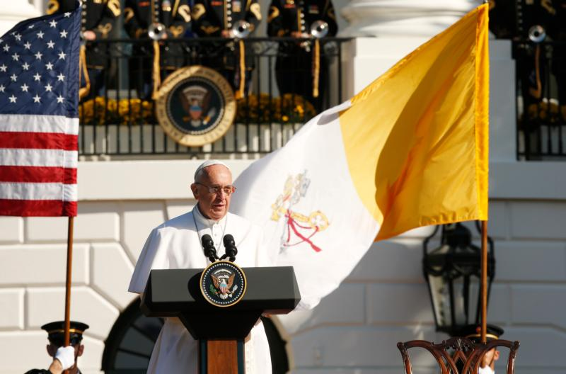 Pope Francis speaks during a ceremony with U.S. President Barack Obama on the South Lawn of the White House in Washington Sept. 23. (CNS photo/Paul Haring)