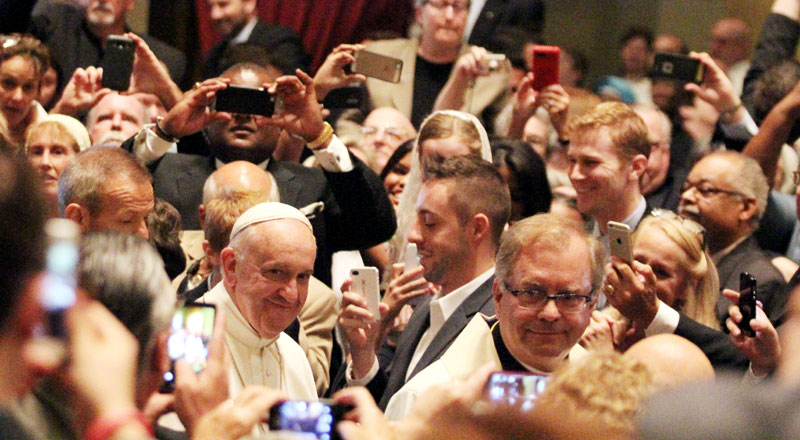 Pope Francis enters the Cathedral Basilica of SS. Peter and Paul in Philadelphia Sept. 26 before Mass. (Sarah Webb)