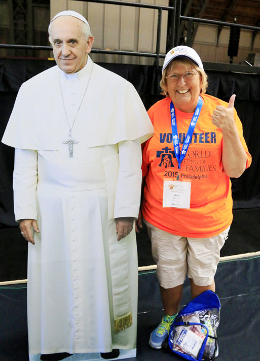 Elaine Hrynko from Presbyterian BVM Church in Cheltenham, PA is all set with her volunteer gear.