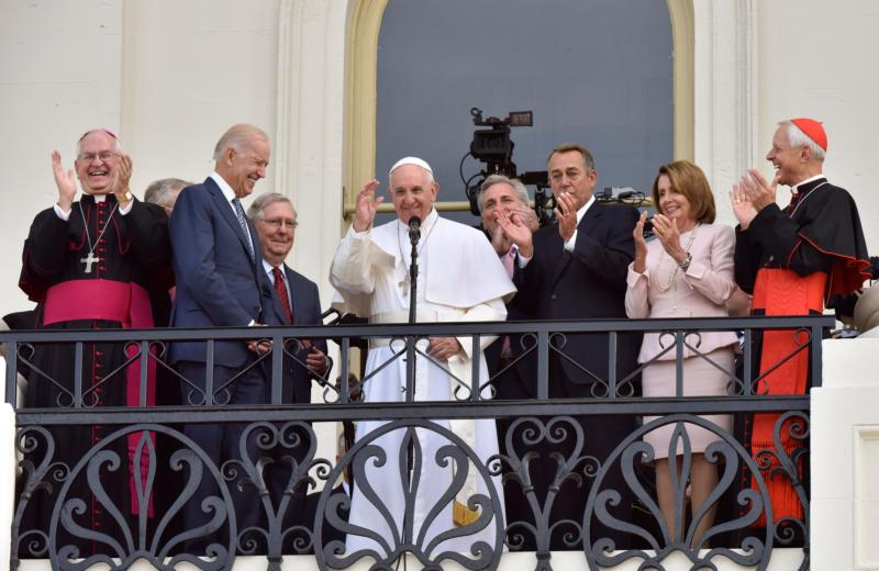 Pope Francis appears with leaders of Congress, Vice President Joe Biden (second from left), Cardinal Donald W. Wuerl (right) and Archbishop Joseph E. Kurtz (left) on the west terrace of the U.S. Capitol Sept. 24 in Washington. (CNS photo/Matthew Barrick) See POPE-CONGRESS Sept. 24, 2015.