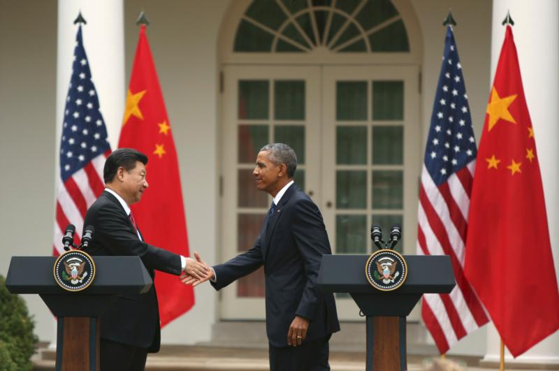 U.S. President Barack Obama and Chinese President Xi Jinping shake hands following a joint news conference in the Rose Garden at the White House Sept. 25 in Washington. (CNS photo/Gary Cameron, Reuters)