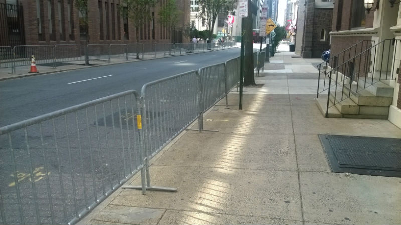 Four-foot-high pedestrian barriers were placed along 17th Street a block north of the parkway.