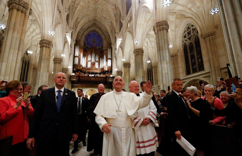 Pope Francis looks up as he arrives to St. Patrick's Cathedral for an evening prayer service Sept. 24 in New York. (CNS photo/Paul Haring) See POPE-NY-VESPERS Sept. 24, 2015.