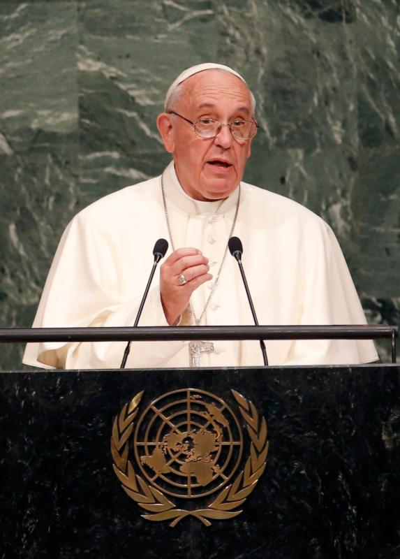 Pope Francis addresses the General Assembly of the United Nations in New York Sept. 25. (CNS photo//Mike Segar, Reuters) See POPE-UN Sept. 25, 2015.