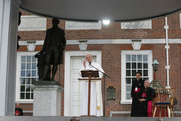 Pope Francis speaks from Independence Hall in Philadelphia Sept. 26. (CNS photo/Paul Haring)