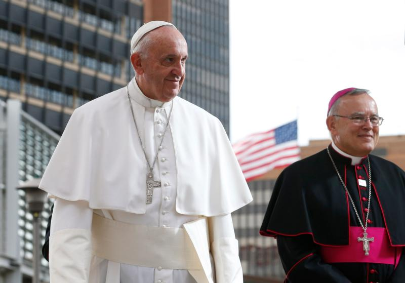Pope Francis and Archbishop Charles J. Chaput of Philadelphia leave Independence Hall after the pope gave an address about religious liberty and immigration in Philadelphia Sept. 26. (CNS photo/Paul Haring)