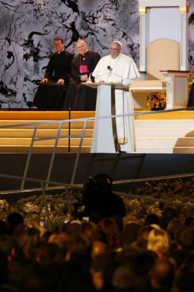Pope Francis smiles as he addresses the crowds at the Festival of Families during the World Meeting of Families in Philadelphia Sept. 26. (CNS photo/Gregory A. Shemitz)