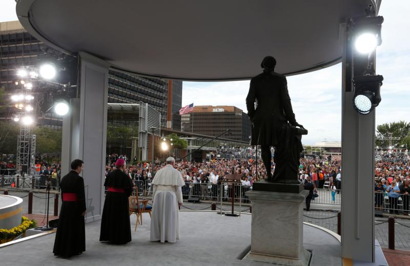 Pope Francis looks out to the crowd as he arrives to give an address from Independence Hall in Philadelphia Sept. 26. (CNS photo/Paul Haring)