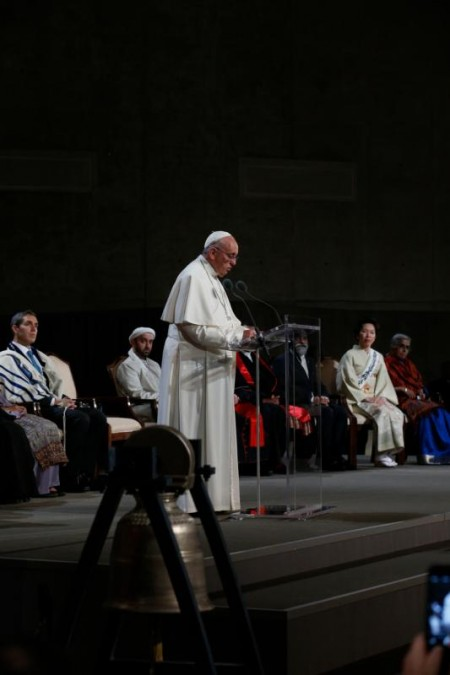 Pope Francis gives a reflection as he joins representatives of religious communities in Foundation Hall at the ground zero 9/11 Memorial and Museum in New York Sept. 25. (CNS photo/Paul Haring)