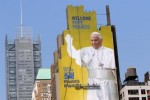 A 225-foot mural featuring an image of Pope Francis nears completion in New York City Sept. 1. The artwork was commissioned by DeSales Media Group, the communications and technology arm of the Diocese of Brooklyn, N.Y. (CNS photo/Gregory A. Shemitz)