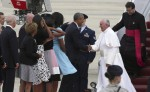 President Barack Obama welcomes Pope Francis to the United States at military airfield outside Washington