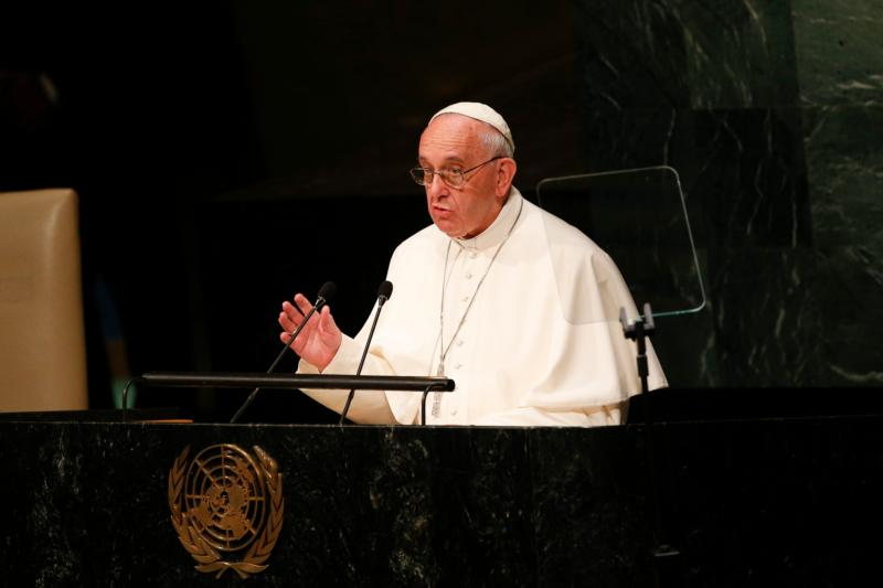 Pope Francis addresses the general assembly of the United Nations in New York Sept. 25. (CNS photo/Paul Haring)