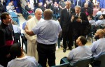 Pope Francis meets with one of 100 prisoners Sept. 27 at Curran-Fromhold Correctional Facility in Philadelphia. (Photo by Kevin Cook)