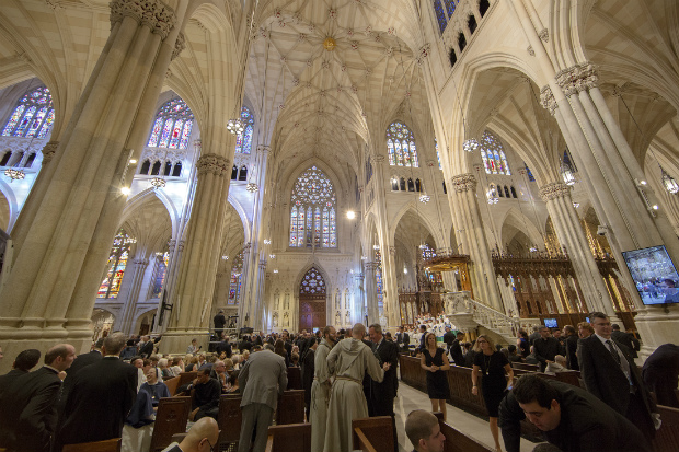 People fill the pews before the start of a prayer service led by Pope Francis at St. Patrick's Cathedral in New York Sept. 24. (CNS photo/Mike Crupi)