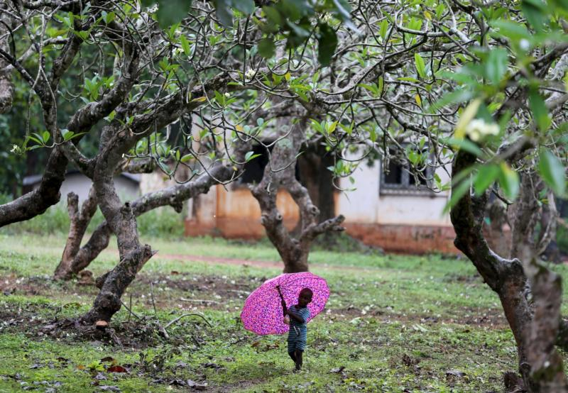 A boy walks with an umbrella during a shower in Bambari, Central African Republic, Oct. 17. Faith leaders there hope Pope Francis' November visit will help with the peace process. (CNS photo/Goran Tomasevic, Reuters)