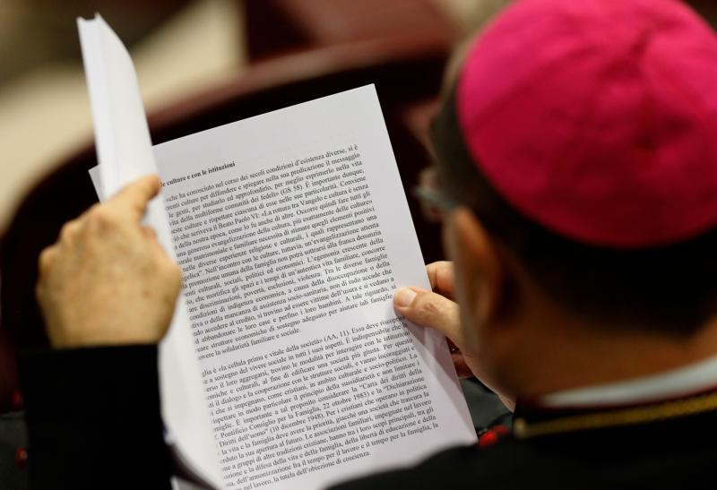 A bishop reads a draft in Italian of the final document of the Synod of Bishops on the family before a synod session at the Vatican Oct. 23. (CNS photo/Paul Haring)