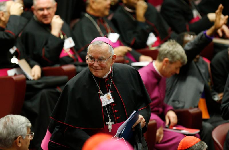 Archbishop Charles J. Chaput of Philadelphia arrives for the opening session of the Synod of Bishops on the family at the Vatican Oct. 5. (CNS photo/Paul Haring)