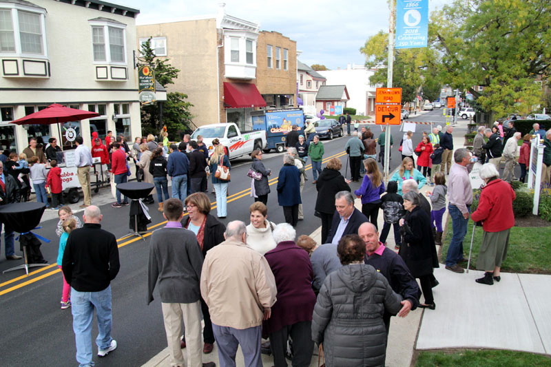 The block party on West Avenue in Jenkintown gets underway after Mass.