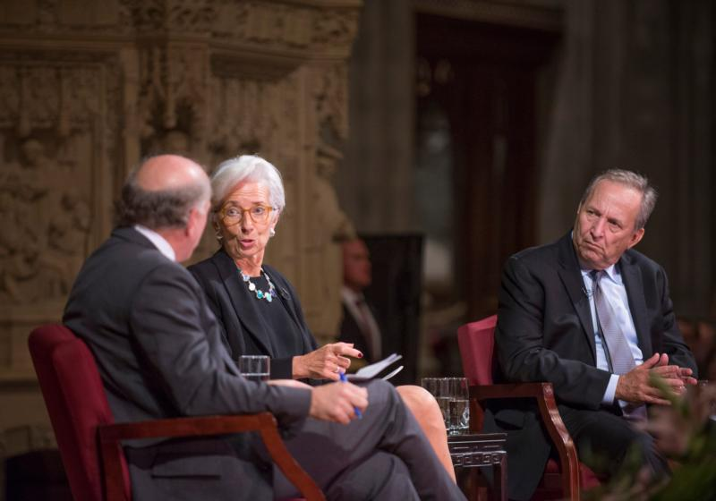 Christine Lagarde, managing director of the International Monetary Fund, is seated with with moderator Adi Ignatius, left, and Larry Summers, former U.S. treasury secretary, for a discussion about capitalism and morality at the Washington National Cathedral Oct. 28. (CNS photo/Donovan Marks, Washington National Cathedral)