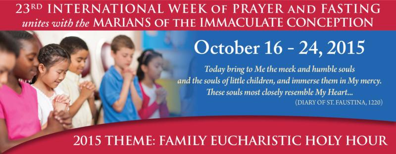 This is artwork for the 23rd International Week of Prayer and Fasting. Catholics are urged to join in prayer and fasting Oct. 16-24 for the conversion of people and nations, peace in the world, a renewed culture of life in the United States and spiritual blessing on the Synod of Bishops on the family. (CNS)