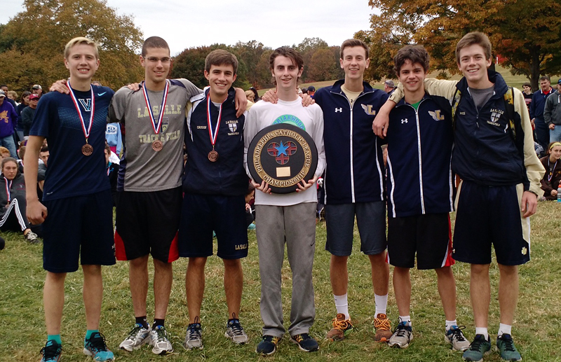 La Salle High School's cross-country team poses for a photo after winning the Catholic League championship.