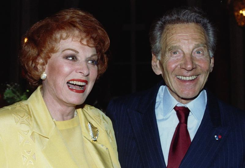 In this Sept. 4, 1994, file photo, actress Maureen O'Hara and actor Jean-Pierre Aumont are seen at a film festival in Deauville, France. A lifelong Catholic and native of Ireland, O'Hara died Oct. 24 in Boise, Idaho. She was 95. (CNS photo/Stringer, Reuters)