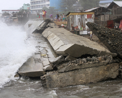 Typhoon wreckage of a Philippines seawall project is shown Oct. 19 in Ilocanos Norte, a neighborhood of San Fernando. (CNS photo/TJ Corpuz, Reuters)