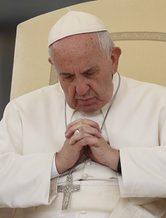 Pope Francis leads his general audience in St. Peter's Square at the Vatican Oct. 14. (CNS photo/Paul Haring)