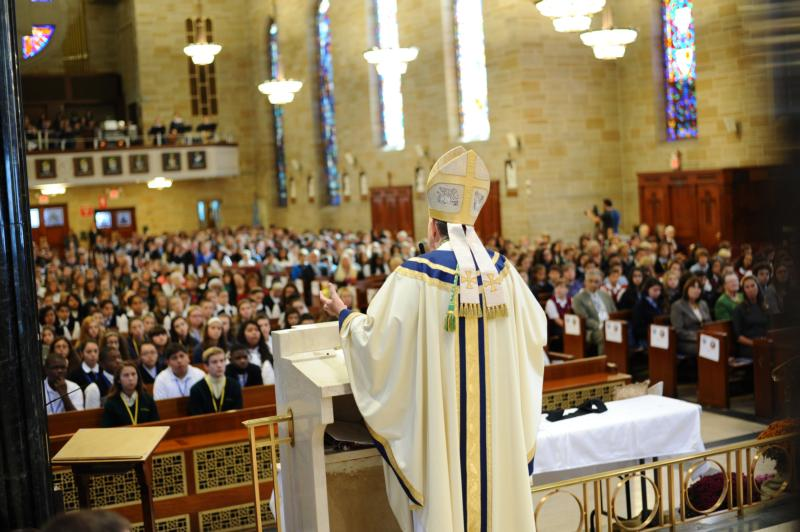Bishop David M. O'Connell of Trenton, N.J., delivers the homily to a crowded St. Mary of the Assumption Cathedral in Trenton during an Oct. 15 Mass to celebrate Catholic schools. (CNS photo/courtesy The Monitor)
