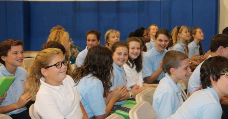 Students of St. Agnes School in West Chester learn at an assembly that their school has been chosen for a National Blue Ribbon for excellence by the U.S. Department of Education.