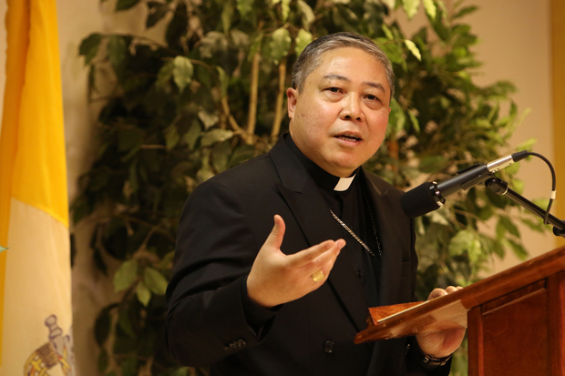 Archbishop Bernardito Auza, Vatican nuncio to the United Nations, speaks at the Holy See's Permanent Observer Mission to the U.N. in New York City. (CNS photo/Gregory A. Shemitz)