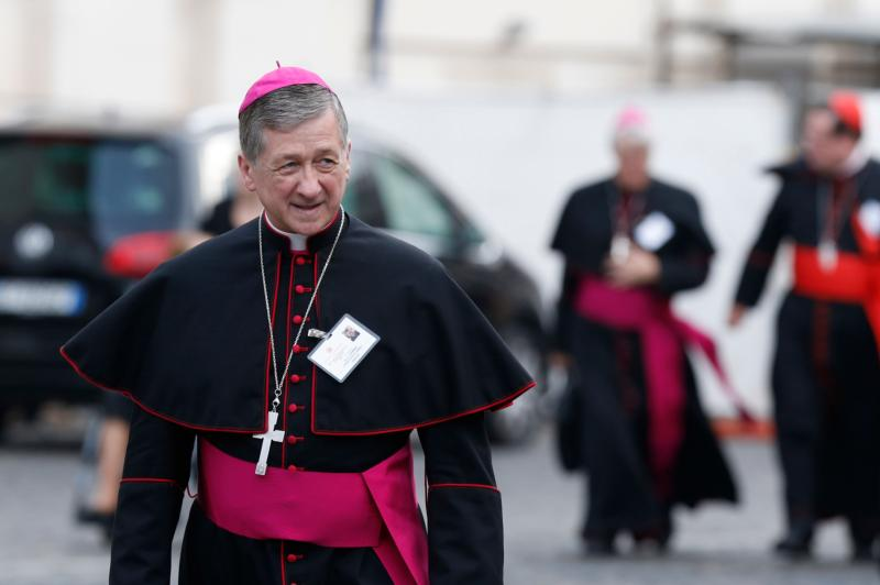 Archbishop Blase J. Cupich of Chicago arrives for a session of the Synod of Bishops on the family at the Vatican Oct. 14. (CNS photo/Paul Haring)