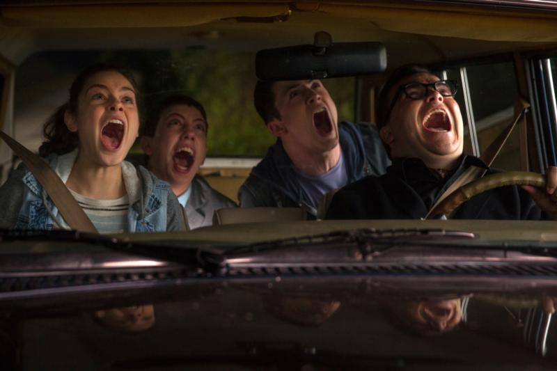 "Odeya Rush, Ryan Lee, Dylan Minette and Jack Black star in a scene from the movie ""Goosebumps."" (CNS photo/Sony)"