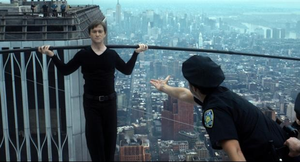 "Joseph Gordon-Levitt stars in a scene from the movie ""The Walk.""  (CNS photo/Sony)"