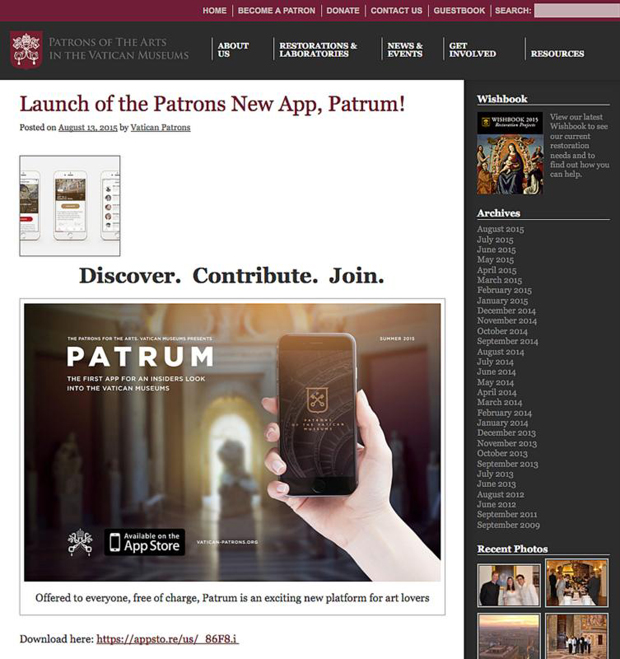 "This screen grab was taken from http://www.vatican-patrons.org. ""Patrum,"" the new app from the Patrons of the Arts in the Vatican Museums, launched in mid-August. (CNS)"