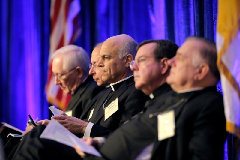 Members of the working group for the Faithful Citizenship document are seen Nov. 17 during the 2015 fall general assembly of the U.S. Conference of Catholic Bishops in Baltimore. Pictured are Archbishop Leonard P. Blair of Hartford, Conn.; Baltimore Archbishop William E. Lori; San Francisco Archbishop Salvatore J. Cordileone; Detroit Archbishop Allen H. Vigneron and Archbishop Thomas G. Wenski of Miami. (CNS photo/Bob Roller)