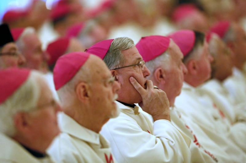 U.S. bishops are seen before celebrating  Mass at the Basilica of the National Shrine of the Assumption of the Blessed Virgin Mary Nov. 16 during the 2015 fall general assembly of the U.S. Conference of Catholic Bishops in Baltimore. (CNS photo/Bob Roller)