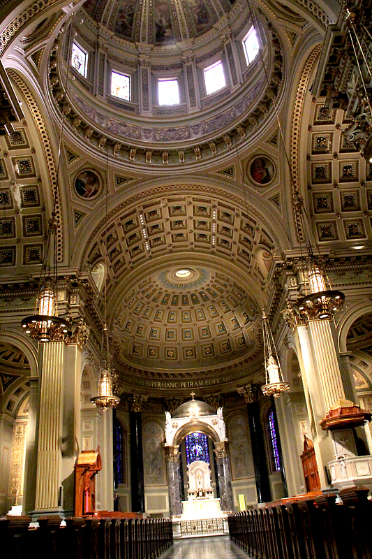 "With its dome, barrel vaults and coffered ceiling, the Cathedral Basilica of SS. Peter and Paul is ""an acoustical wonder"" that is beautiful to the eye as well as the ear. (Sarah Webb)"