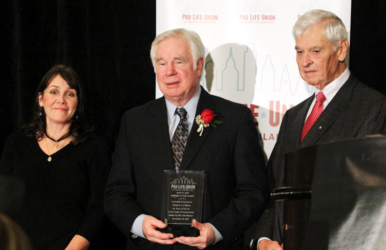 Edel Finnegan, Executive Director and Bill Wohlgemuth, President of ProLife Union of Greater Philadelphia present Bob O'Hara with the Defender of Life Award.
