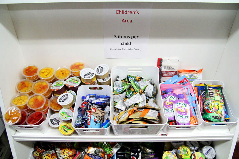 A section is provided for children so they can choose their own food along side their parents.