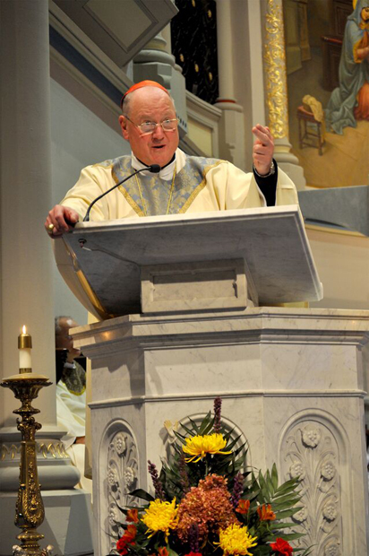 Cardinal Dolan preaches the homily at he Mass Nov. 18 at the Miraculous Medal Shrine.