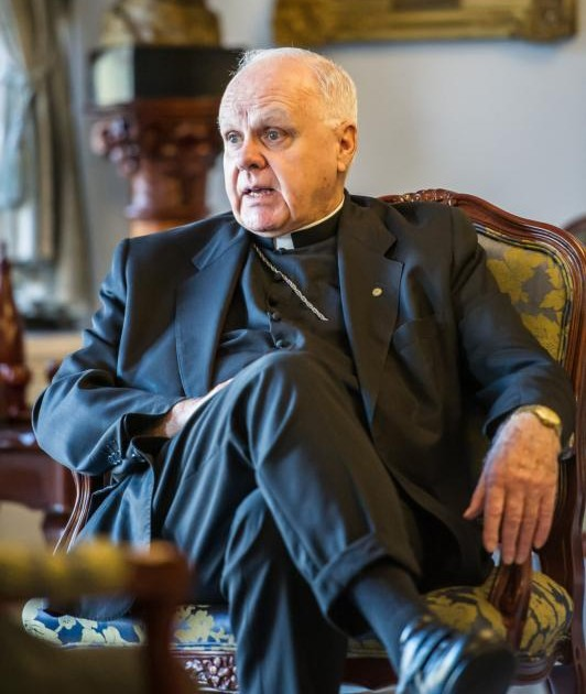 Cardinal Edwin F. O'Brien, grand master of the Knights of the Holy Sepulchre, speaks during an interview in Sydney, Australia, Oct. 15. The U.S. cardinal said forces in the Mideast are intent on eradicating Christians. (CNS photo/Giovanni Portelli, The Catholic Weekly)