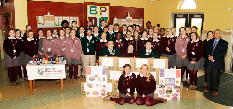 Some of the over 200 members of CSC at Bonner-Prendi pose for a picture witht eh PB&J they collected.