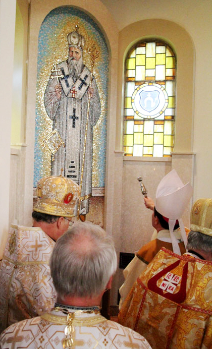 Auxillary Bishop John McIntyre blesses the mosaic of Venerable Servant of God Metropolitan Andrew Sheptytsky.