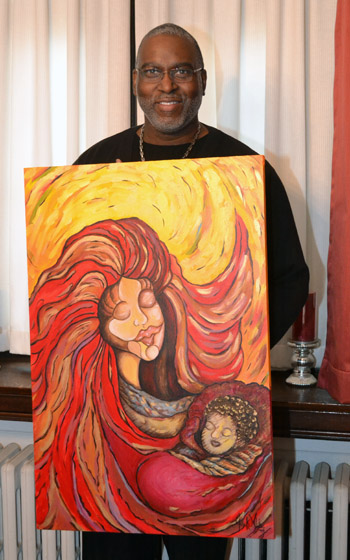 """John Keith White, with """"Fire of Love and Mercy – Madonna and Child."""" (Elena Perri)"""