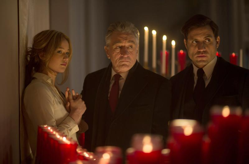 "Jennifer Lawrence, Robert De Niro and Edgar Ramirez star in a scene from the movie ""Joy."" The Catholic News Service classification is A-III -- adults. The Motion Picture Association of America rating is PG-13 -- parents strongly cautioned. Some material may be inappropriate for children under 13. (CNS photo/Fox)"