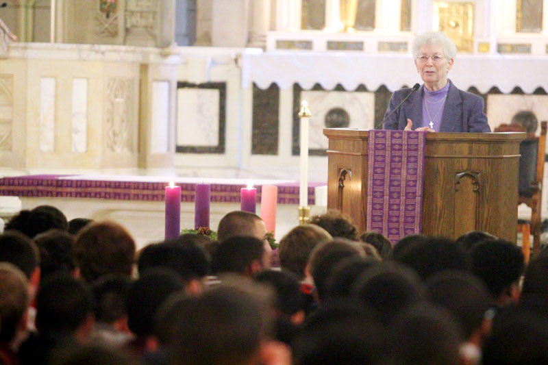 "Sr. Rosemary Herron, president, welcomes students and tell them ""let us be true to our names as our name is Mercy""."
