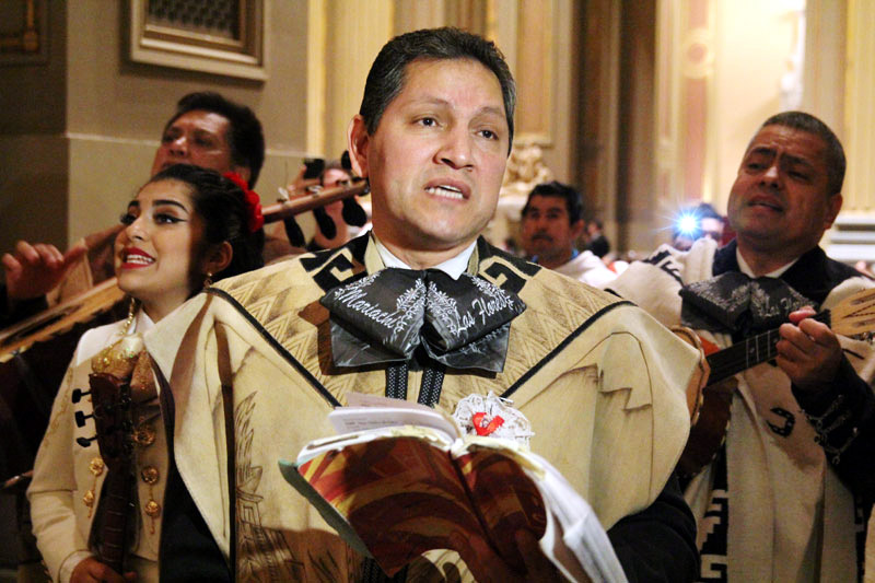 El Mariachi Flores fill the Cathedral with music during Las Mañanitas.